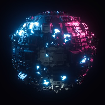 Desenho de tecnologia abstrata de um globo tecnológico