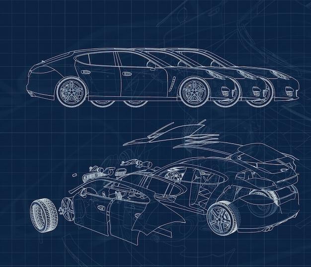 Desenho de um carro e suas peças em um substrato milimetrado azul