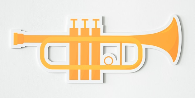 Desenho, de, um, dourado, trompete