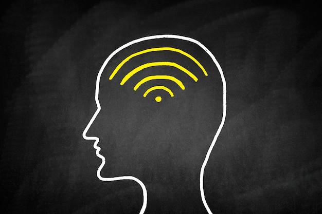 Desenho de uma cabeça com sinal wi-fi dentro