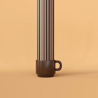 Desenho de xícara de café com linhas verticais