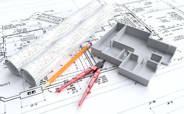 Desenho e planejamento de desenvolvimento industrial de renderização 3d