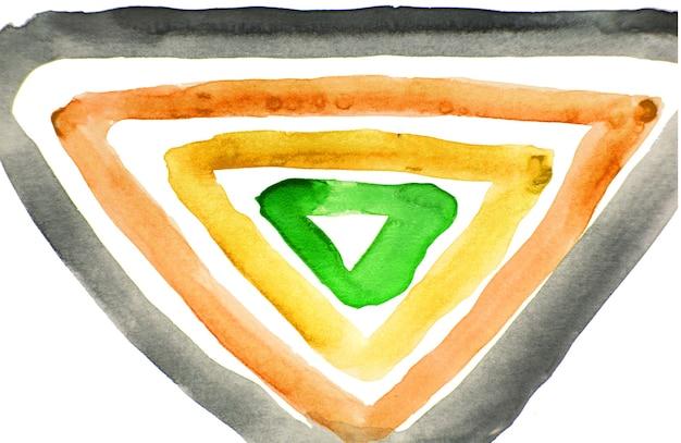 Desenho em aquarela abstrato de uma forma geométrica composta por vários triângulos