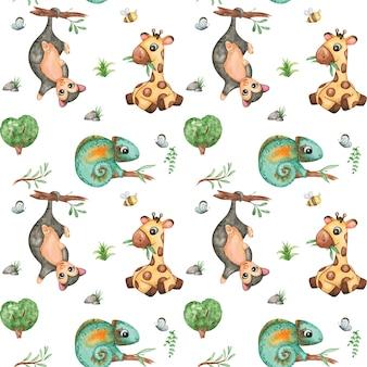 Desenho em aquarela de animais australianos