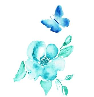 Desenho em aquarela de borboleta e flor isolado no branco.