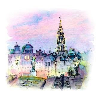 Desenho em aquarela de bruxelas ao pôr do sol, bélgica