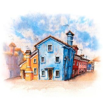 Desenho em aquarela de casas coloridas e igreja
