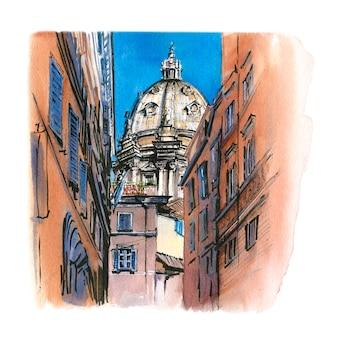 Desenho em aquarela de catânia, itália