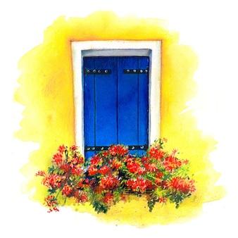 Desenho em aquarela de janela com venezianas azuis e flores vermelhas na parede amarela das casas