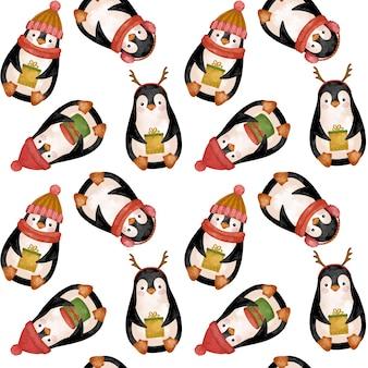 Desenho em aquarela de pinguins de natal