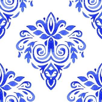 Desenho floral azul aquarela. padrão sem emenda, ornamento de ladrilhos. fundo de filigrana abstrato persa.