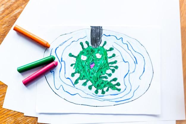 Desenho infantil coronavírus ataque de muitos vírus