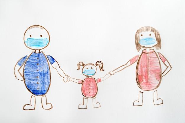 Desenho infantil de uma família com máscaras médicas. pai e mãe com um filho estão andando em quarentena. segurança fria