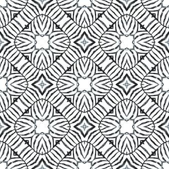 Desenho listrado desenhado à mão. design de verão chique boho deslumbrante preto e branco. repetindo a borda desenhada mão listrada. impressão fabulosa em tecido pronto, tecido de biquíni, papel de parede, embrulho.