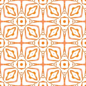 Desenho listrado desenhado à mão. projeto chique do verão do boho radiante laranja. repetindo a borda desenhada mão listrada. têxtil pronto para estampa bonita, tecido de biquíni, papel de parede, embrulho.