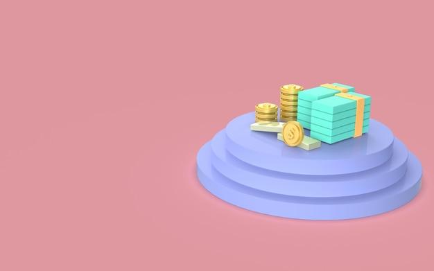 Desenho moeda dinheiro ouro display ilustração bonito negócio financeiro marketing renderização em 3d