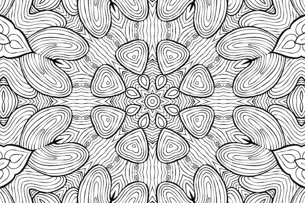 Desenho para colorir página anti-stress, desenho de flor simétrica preto e branco. fundo floral monocromático. mão desenhada ornamento com flores, livro de colorir relaxante. desenho meditativo de mandala de cachos