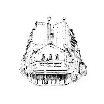 Desenho preto e branco da típica casa parisain com café e lanternas, paris, frança.