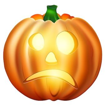 Desenho realista laranja halloween abóbora isolada no fundo branco.