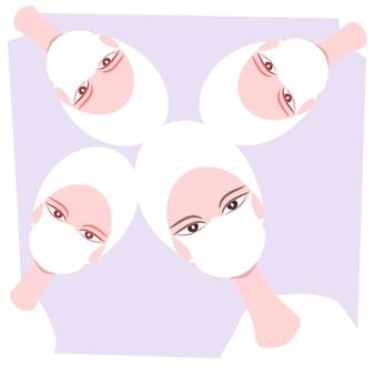 Desenho vetorial das cabeças de quatro enfermeiras com máscaras