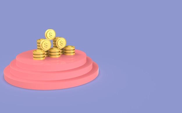 Desenho visor de moeda ilustração fofo marketing de negócios renderização em 3d