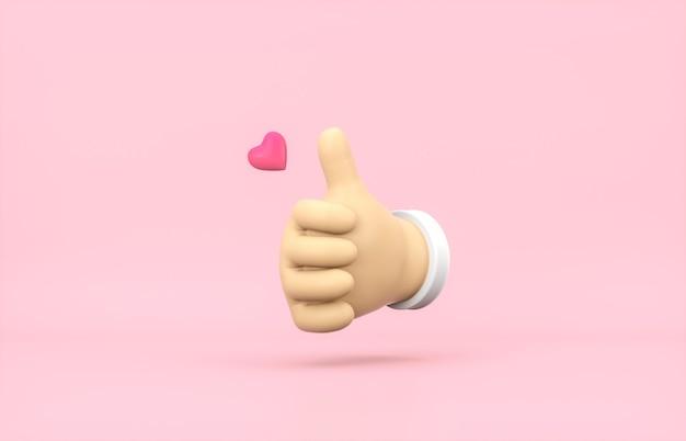 Desenhos animados 3d polegar para cima mão com mini ícone de um coração no fundo rosa isolado.