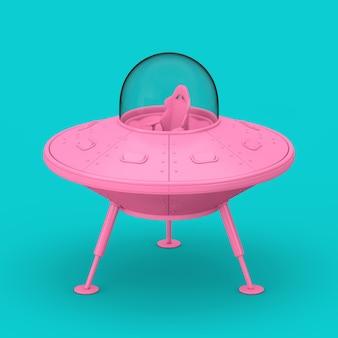 Desenhos animados bonitos rosa da nave espacial ovni em estilo duotônico sobre um fundo azul. renderização 3d