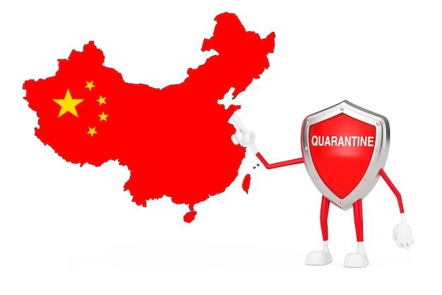 Desenhos animados bonitos vermelho metal escudo médico mascote personagem personagem com sinal de quarentena e mapa e bandeira da china em um fundo branco. renderização 3d