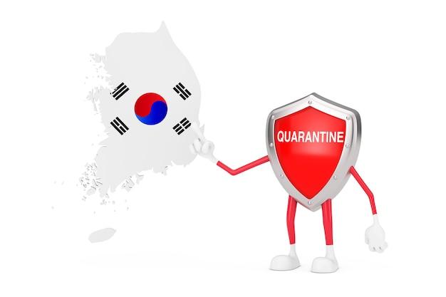 Desenhos animados bonitos vermelho metal escudo médico mascote personagem personagem com sinal de quarentena e mapa e bandeira da coreia do sul em um fundo branco. renderização 3d