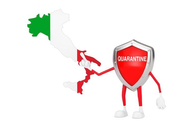Desenhos animados bonitos vermelho metal escudo médico mascote personagem personagem com sinal de quarentena e mapa e bandeira da itália em um fundo branco. renderização 3d
