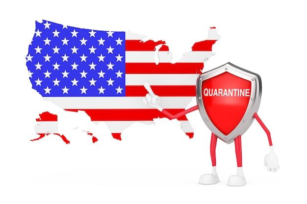 Desenhos animados bonitos vermelho metal escudo médico mascote personagem personagem com sinal de quarentena e mapa e bandeira dos eua em um fundo branco. renderização 3d