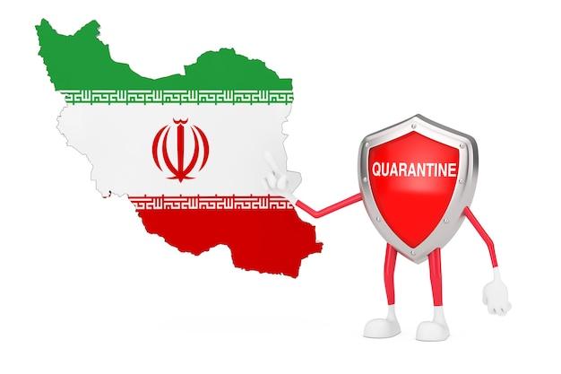 Desenhos animados bonitos vermelho metal escudo médico mascote personagem personagem com sinal de quarentena e o mapa e a bandeira do irã em um fundo branco. renderização 3d