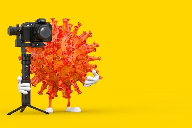 Desenhos animados coronavirus covid-19 virus mascot person character com dslr ou sistema de tripé de estabilização do cardan da câmera de vídeo em um fundo amarelo. renderização 3d