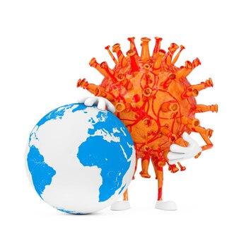Desenhos animados coronavirus covid-19 vírus mascote personagem personagem com globo terrestre em um fundo branco. renderização 3d