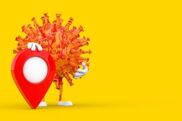 Desenhos animados coronavirus covid-19 vírus mascote personagem personagem com vermelho mapa ponteiro alvo pin sobre um fundo amarelo. renderização 3d
