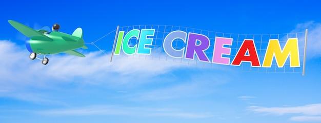 Desenhos animados de aviões com banner de sorvete. renderização 3d