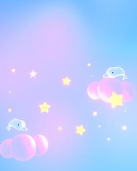 Desenhos animados do céu pastel com imagem de renderização 3d de golfinhos e estrelas