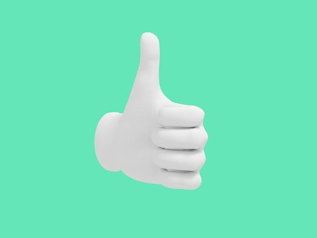 Desenhos animados mão polegar para cima. ilustração sobre fundo de cor verde. renderização em 3d.