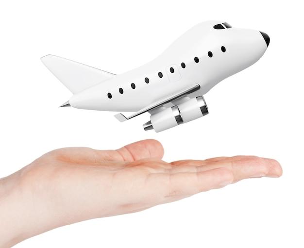 Desenhos animados toy jet airplane mão sobre um fundo branco. renderização 3d.