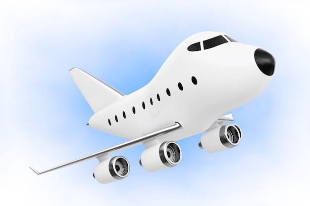Desenhos animados toy jet airplane sobre um fundo azul. renderização 3d.