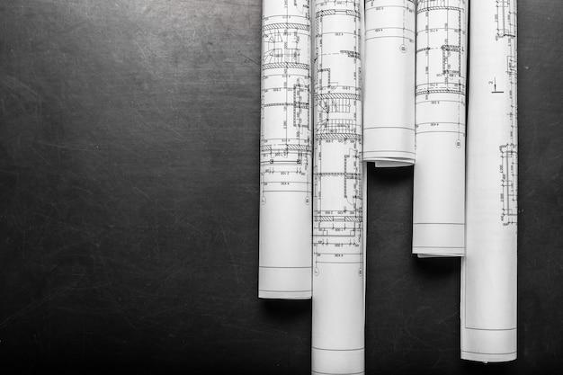Desenhos de planejamento de construção, vista superior