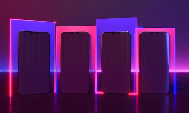 Desenhos de smartphones com luz neon