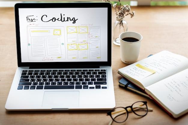 Desenvolver a codificação do design da web modelo de codificação da web