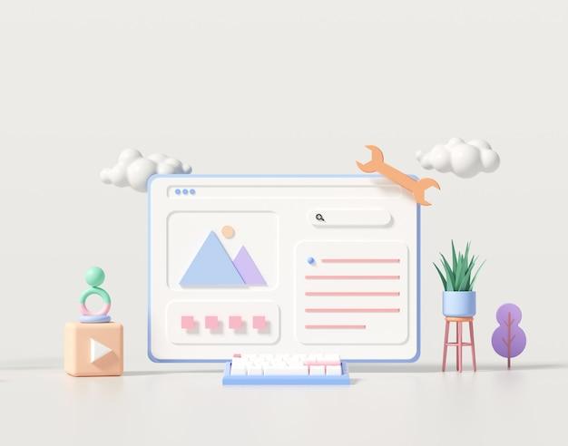 Desenvolvimento 3d da web, design de aplicativo, codificação e programação no conceito de laptop