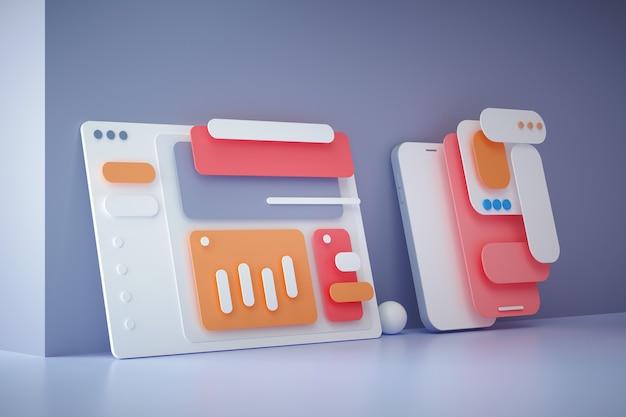 Desenvolvimento de aplicativos 3d e conceito de design ui-ux