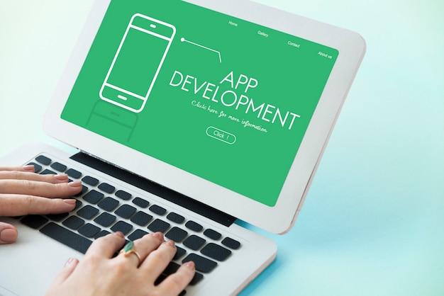 Desenvolvimento de aplicativos de tecnologia e-commerce sem fio Foto gratuita