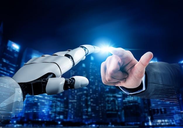 Desenvolvimento de tecnologia futurista de robôs, inteligência artificial ia e conceito de aprendizado de máquina