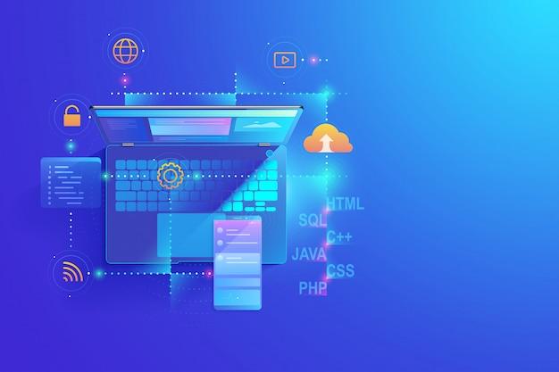 Desenvolvimento web, design de aplicativo, conceito de codificação e programação