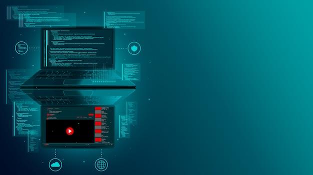 Desenvolvimento web e codificação de sites em um laptop