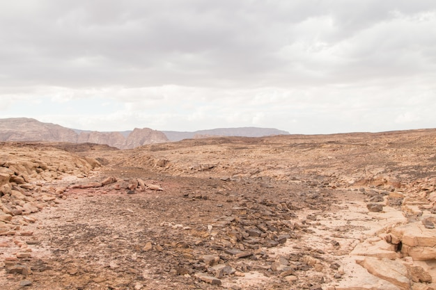 Deserto, montanhas vermelhas, rochas e céu nublado. egito, canyon de cores.